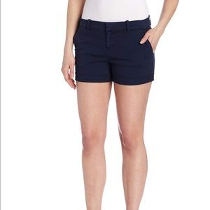 Joie    navy blue twill flat front shorts